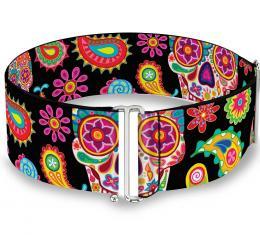Cinch Waist Belt - Bobo Sugar Skull/Paisley Black/Multi Color - ONE SIZE