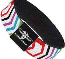 Buckle-Down Elastic Bracelet - Arrows White/Multi Color