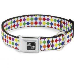 Buckle-Down Seatbelt Buckle Dog Collar - Diamonds White/Multi Neon