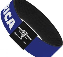 Buckle-Down Elastic Bracelet - MERICA/USA Silhouette Blue/White/Red