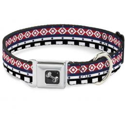 Buckle-Down Seatbelt Buckle Dog Collar - Aztec13 White/Navy/Red/Black