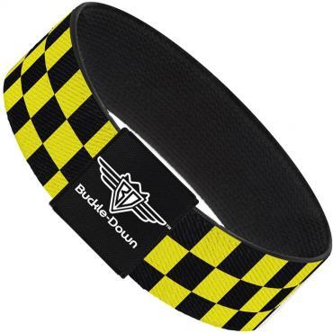 Buckle-Down Elastic Bracelet - Checker Black/Neon Yellow