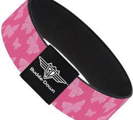 Buckle-Down Elastic Bracelet - Butterflies Pink
