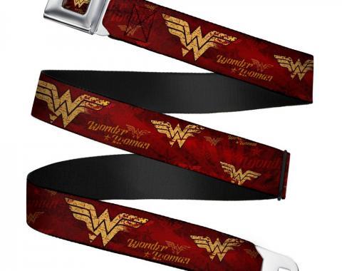Wonder Woman Logo Rays Full Color Burgundy/Gold Seatbelt Belt - WONDER WOMAN/Logo Rays Burgundy/Gold Webbing