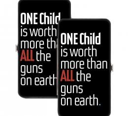 Hinged Wallet - ONE CHILD IS WORTH MORE Quote Black/White/Red