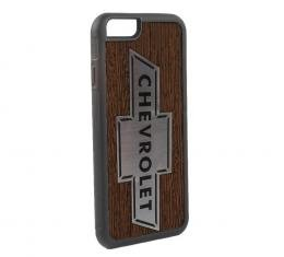 Rubber Cell Phone Case - BLACK - Chevy Bowtie Marquetry Black Walnut/Metal