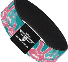 Buckle-Down Elastic Bracelet - Angry Bunnies Turquoise/Pinks