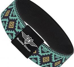 Buckle-Down Elastic Bracelet - Geometric6 Navy/Turquoise/Gold