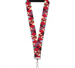 Buckle-Down Lanyard - Geometric9 Black/Red/Turquoise/Ivory