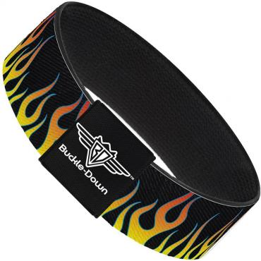 Buckle-Down Elastic Bracelet - Flames Black/Yellow/Orange