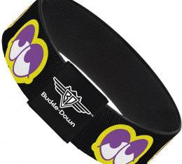 Buckle-Down Elastic Bracelet - Dopey Eyes Black/Yellow/Purple
