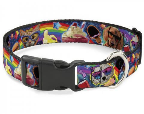 Buckle-Down Plastic Buckle Dog Collar - Pets & Snacks Rainbow Collage