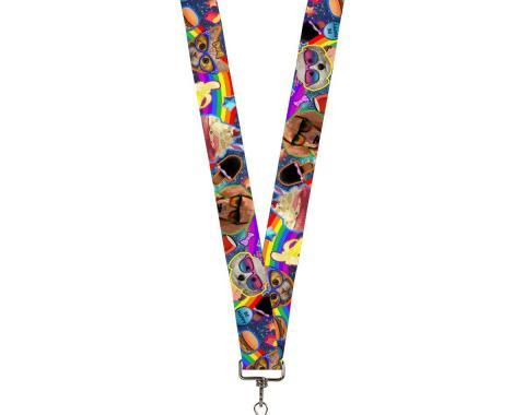Buckle-Down Lanyard - Pets & Snacks Rainbow Collage
