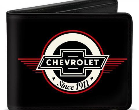 Bi-Fold Wallet - Retro Chevy Bowtie SINCE 1911 Black/Red/Ivory