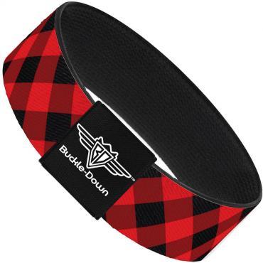 Buckle-Down Elastic Bracelet - Diagonal Buffalo Plaid Black/Red