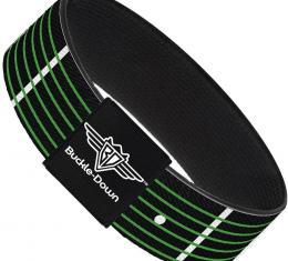 Buckle-Down Elastic Bracelet - Guitar Neck Black/White/Lime Green