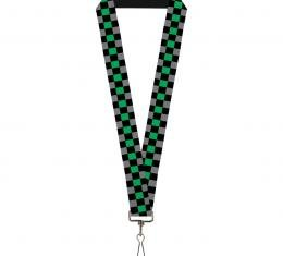 Buckle-Down Lanyard - Checker Black/Gray/1 Green