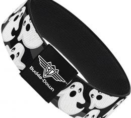 Buckle-Down Elastic Bracelet - Ghosts Scattered Black/White