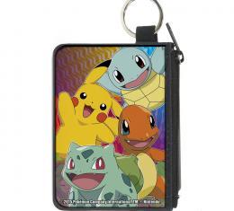 Canvas Zipper Wallet - MINI X-SMALL - 3-Pikachu & Kanto Starter Pok�mon CLOSE-UP Pose/Type Symbols Multi Color