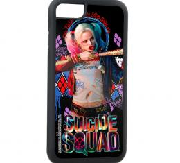 Rubber Cell Phone Case - BLACK - SUICIDE SQUAD Harley Quinn Shooting Bat Pose I'VE BEEN A BAD GIRL/Diamonds FCG Black/Purples/Red