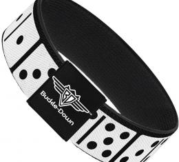 Buckle-Down Elastic Bracelet - Dominos Black/White/Black