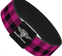 Buckle-Down Elastic Bracelet - Buffalo Plaid Black/Fuchsia