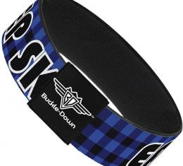 Buckle-Down Elastic Bracelet - EAT SLEEP SKATE Buffalo Plaid Blue