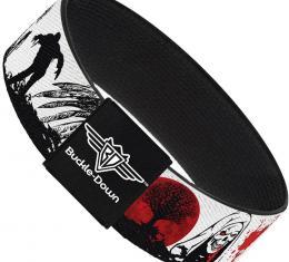 Buckle-Down Elastic Bracelet - Fright Night White/Black/Red