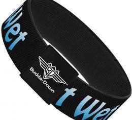 Buckle-Down Elastic Bracelet - GET WET Black/Baby Blue