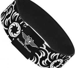 Buckle-Down Elastic Bracelet - Floral Pinwheel Black/White