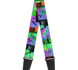 Guitar Strap - Eighties Arcade Multi Neon Stripes