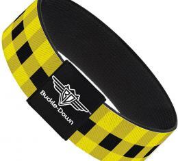 Buckle-Down Elastic Bracelet - Buffalo Plaid Black/Neon Yellow