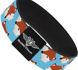 Buckle-Down Elastic Bracelet - Fox Face Scattered Sky Blue
