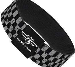 Buckle-Down Elastic Bracelet - Checker Weathered Black/Gray