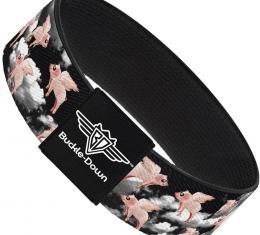 Buckle-Down Elastic Bracelet - Flying Pigs Black/White/Pink