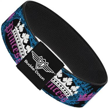 Buckle-Down Elastic Bracelet - Crown Princess Oval Black/Turquoise