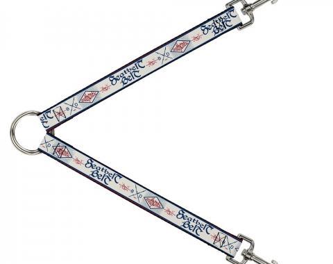 Dog Leash Splitter - BD AUTHENTIC SEATBELT BELT White/Blue/Red