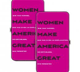 Hinged Wallet - WOMEN MAKE AMERICA GREAT/Quote Fuchsia/Gray/White