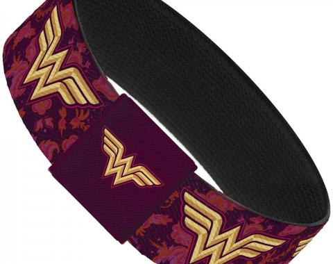 "Elastic Bracelet - 1.0"" - Wonder Woman Logo/Floral Collage Purple/Pinks/Gold"