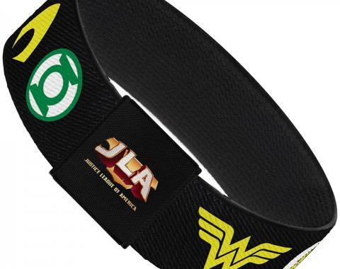 "Elastic Bracelet - 1.0"" - Justice League 6-Superhero Logos Black"