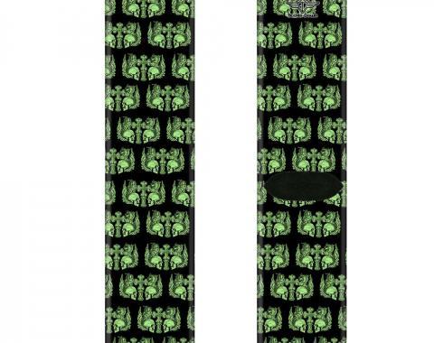 Sock Pair - Polyester - BD Skulls w/Wings Black/Green - CREW