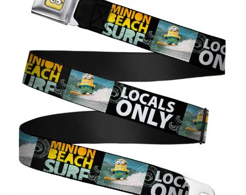 Minion Dave Face CLOSE-UP Full Color Seatbelt Belt - Surfing Minion MINION SURF BEACH/LOCALS ONLY Webbing