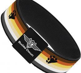 Buckle-Down Elastic Bracelet - Flag Bear Pride2 Black/Brown/Orange/Yellow/Tan/White/Gray/Black