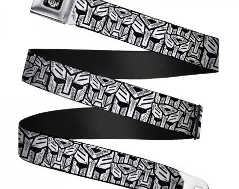 Transformers Autobot Logo Black/Silver-Fade Seatbelt Belt - Autobots Swirl Stacked White/Black Webbing