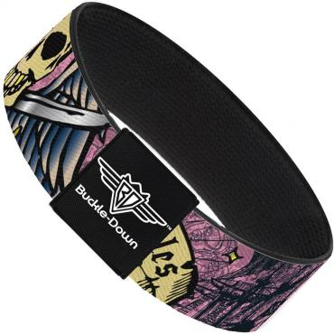 Buckle-Down Elastic Bracelet - Dead Men Tell No Tales Pink