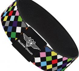 Buckle-Down Elastic Bracelet - Diamonds Black/Multi Color