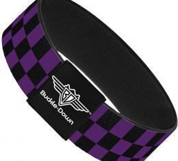 Buckle-Down Elastic Bracelet - Checker Black/Purple