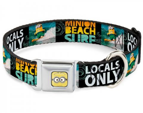 Dog Collar DSA-Minion Dave Face CLOSE-UP Full Color - Surfing Minion MINION SURF BEACH/LOCALS ONLY