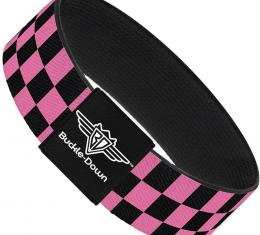 Buckle-Down Elastic Bracelet - Checker Black/Pink