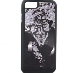 Rubber Cell Phone Case - BLACK - Joker HAHAHA The Killing Joke Pose Brushed Silver
